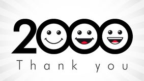 Thank you 2000 followers numbers. Congratulating black and white thanks, image for net friends in 3 three colors, customers likes, % percent off discount stock illustration