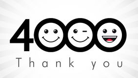 Thank you 4000 followers numbers. Congratulating black and white thanks, image for net friends in two 2 colors, customers likes, % percent off discount. Round royalty free illustration