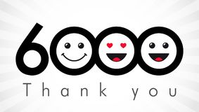 Thank you 6000 followers numbers. Congratulating black and white thanks, image for net friends in two 2 colors, customers likes, % percent off discount. Round royalty free illustration