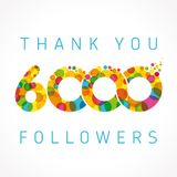 Thank you 6000 followers numbers. Congratulating multicolored thanks image for net friends or customers likes, % percent off discount, blockchain business Royalty Free Stock Image