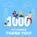 Thank you 1000 followers numbers postcard. vector illustration