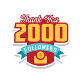 Thank you 2000 followers numbers, template for social networks, user celebrating large number of friends and subscribers. Vector Illustration isolated on a Stock Image