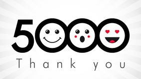 Thank you 5000 followers numbers. Congratulating black and white thanks, image for net friends in two 2 colors, customers likes, % percent off discount. Round Royalty Free Illustration