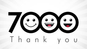 Thank you 7000 followers numbers. Congratulating black and white thanks, image for net friends in two 2 colors, customers likes, % percent off discount. Round Royalty Free Illustration