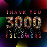 Thank you 3000 followers numbers. Stock Photo
