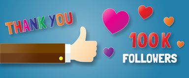 Thank you followers paper art banner. Thank you followers concept with thumb up paper art banner, vector design vector illustration