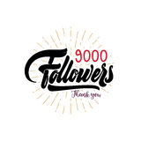 Thank you 9000 followers poster. You can use social networking. Web user celebrates a large number of subscribers or vector illustration