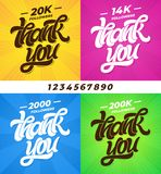 THANK YOU followers. Set of banners for social media with lettering and all digits. Modern brush calligraphy. Editable stock photos