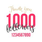 Thank You 1000 Followers Sign Vector. Thanks Design Label. Blogger Celebrates Large Number Of Followers. Illustration. Thank You 1000 Followers Card Vector. Web Vector Illustration
