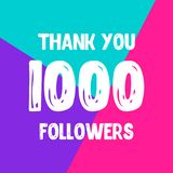 Thank you 1000 followers social network post royalty free illustration