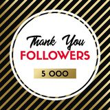 Thank you 5000 followers. Vector card for social media stock illustration