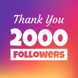 Thank you 2000 followers web banner. Thank you 2000 followers social media post stock illustration