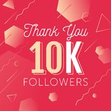 Thanks-followers copy. Thank you for folowing poster, banner design illustration. For social network accounts promotions and appriciation events. Trendy gradient Royalty Free Stock Photo