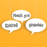 Thank you in foreign languages in the bubble speech Royalty Free Stock Photography