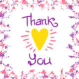 Thank You Frame Light. Thank You lettering and abstract border, greeting card with yellow heart and hand written quote, EPS 8 Stock Photography