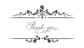 Thank you frame. Ornamental frame with roses. Solemn floral element for design banner,invitation, leaflet, card, poster and so on. Wedding or jubilee theme Stock Photos