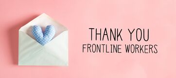 Thank You Frontline Workers message with a heart cushion in an envelope