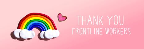 Thank You Frontline Workers message with rainbow and heart