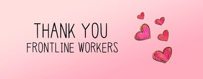 Thank You Frontline Workers message with red heart drawings