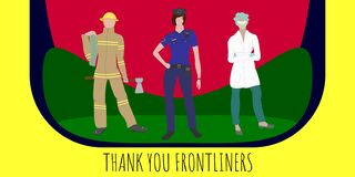 Thank You Frontliners vector banner. Fireman, police and doctor