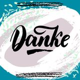 Thank you in German. Vector calligraphy. Danke poster or card. Grey Letters on colorful abstract Background. Hand-drawn lettering.  Vector Illustration