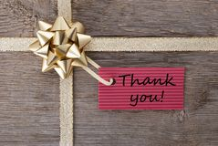 Thank you on a gift label Royalty Free Stock Image