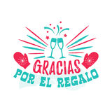 Thank you for the Gift - Spanish-language. Gracias por el regalo - thank you for the Gift - Spanish-language. Happy New Year card with wine glasses, mittens and Stock Photo