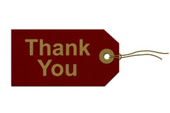 Thank You Gift Tag. Red Gift Tag with words Thank You in Gold  on white, Thank You Gift Tag Royalty Free Stock Photography