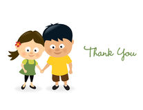 Thank you girl and boy stock illustration