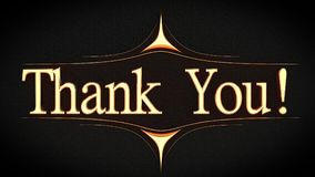 `Thank You!` in gold font, decorated 3D render. Stock Image