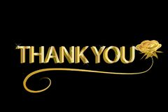Thank you gold text background vector illustration design id card image Royalty Free Stock Photos