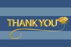 Thank you gold text on blue background vector illustration design id card image Royalty Free Stock Photo