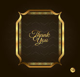 Thank you Golden frame. Vintage gold background, vector antique on black Royalty Free Stock Photo