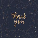 Thank You golden lettering and polygonal pattern vector. Thank You greeting card. Abstract geometric gold polygonal pattern and dots on a black background vector illustration