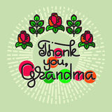 Thank You Grandma handwritten lettering. Grandparents day. Royalty Free Stock Images
