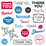 Thank you graphics. Set of various drawn and rendered Thank You graphics Stock Photo