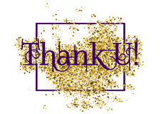 Thank You. Grateful card with lettering. Grateful card with lettering Thank You and golden glitter scattering isolated on white background. Vector illustration Royalty Free Stock Image