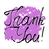 Thank You. Grateful card with lettering. Grateful card with hand written lettering Thank You on white background with lilac brushstroke. Vector illustration Stock Image
