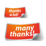 Thank you - grateful labels Royalty Free Stock Photo
