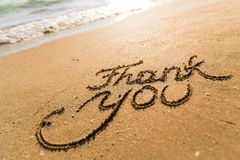 Thank You. Gratitude Beach Sand Advice Sea Alphabet Stock Photo