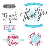 Thank you gratitude feeling emotions text lettering vector badge  Stock Images
