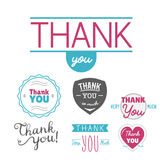Thank you gratitude feeling emotions text lettering vector badge thanksfull quote phrases message Royalty Free Stock Image