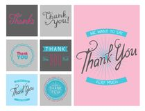 Thank you gratitude feeling emotions text lettering vector card  Stock Images