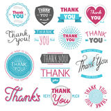 Thank you gratitude feeling emotions text lettering vector logo badge thanksfull quote phrases message. Isolated on white Royalty Free Illustration