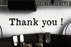 Thank you. Gratitude typewriter ink retro revival antique typing royalty free stock images