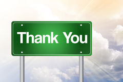 Thank You Green Road Sign Royalty Free Stock Image
