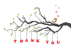 'Thank you' greeting card with bird Royalty Free Stock Image