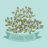 Thank you greeting card with bud flower Royalty Free Stock Images