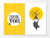 Thank you greeting card elf happy wood background Stock Photography