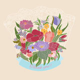 Thank you greeting card with flowers. Background with floral bouquet.Bunch of flower royalty free illustration
